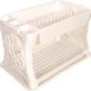 Πιατοθήκη Πλαστική Δυόροφη Μαργαρίτα Λευκή 48 x 30,5 x 29 εκ.
