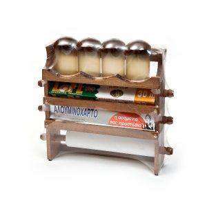 Βάση Ρολού Κουζίνας Τριπλή Ξύλινη Με Βαζάκια Μπαχαρικών 36X36 εκ.