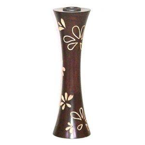 Κηροπήγιο μεγάλο ξύλινο για κερί με ανάγλυφα λουλούδια
